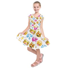 King Cat Smile Water Love Christmast Kids  Short Sleeve Dress