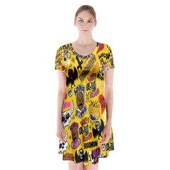 Lolzig Pattern Short Sleeve V-neck Flare Dress