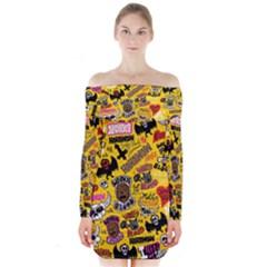 Lolzig Pattern Long Sleeve Off Shoulder Dress