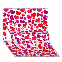 Love Pattern Wallpaper Miss You 3d Greeting Card (7x5)