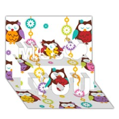 Owl Miss You 3d Greeting Card (7x5)