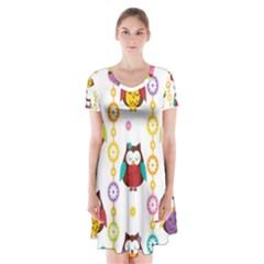 Owl Short Sleeve V Neck Flare Dress
