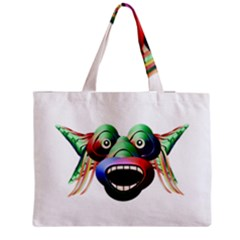 Futuristic Funny Monster Character Face Medium Tote Bag