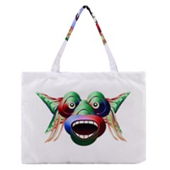 Futuristic Funny Monster Character Face Medium Zipper Tote Bag