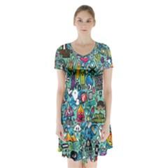 Monster Short Sleeve V-neck Flare Dress