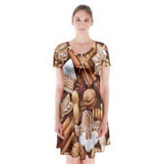 Nuts Cookies Christmas Short Sleeve V Neck Flare Dress
