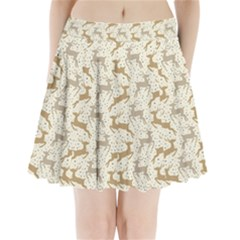 Paper Gift Deer Pleated Mini Skirt