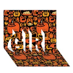 Pumpkin Helloween Girl 3d Greeting Card (7x5)