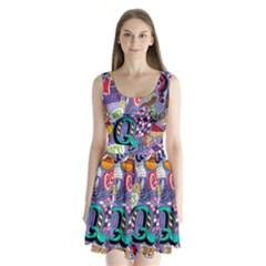 Q Pattern Split Back Mini Dress