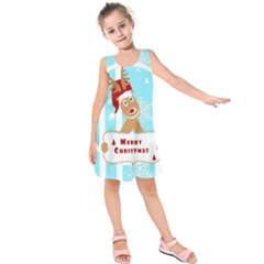 Santa Claus Reindeer Christmas Kids  Sleeveless Dress