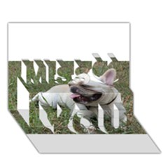 French Bulldog White Full Miss You 3d Greeting Card (7x5)