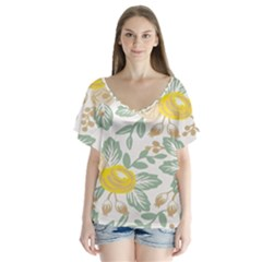 Yellow Ranunculus V-Neck Flutter Sleeve Top