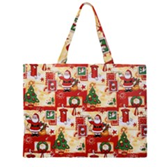 Santa Clause Mail Bird Snow Zipper Large Tote Bag