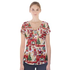Santa Clause Mail Bird Snow Short Sleeve Front Detail Top