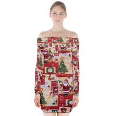 Santa Clause Mail Bird Snow Long Sleeve Off Shoulder Dress