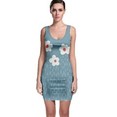 Cloudy Sky With Rain And Flowers Sleeveless Bodycon Dress