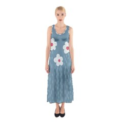 Cloudy Sky With Rain And Flowers Sleeveless Maxi Dress