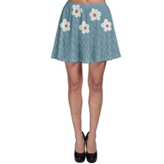 Cloudy Sky With Rain And Flowers Skater Skirt