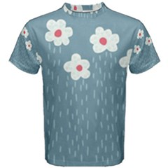 Cloudy Sky With Rain And Flowers Men s Cotton Tee