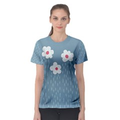 Cloudy Sky With Rain And Flowers Women s Sport Mesh Tee