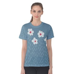 Cloudy Sky With Rain And Flowers Women s Cotton Tee