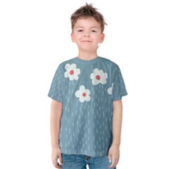 Cloudy Sky With Rain And Flowers Kids  Cotton Tee