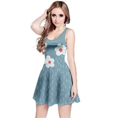 Cloudy Sky With Rain And Flowers Reversible Sleeveless Dress