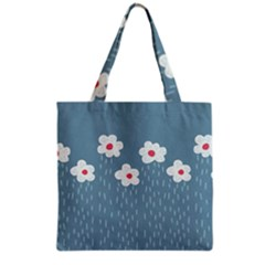 Cloudy Sky With Rain And Flowers Grocery Tote Bag