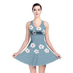 Cloudy Sky With Rain And Flowers Reversible Skater Dress