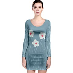 Cloudy Sky With Rain And Flowers Long Sleeve Bodycon Dress