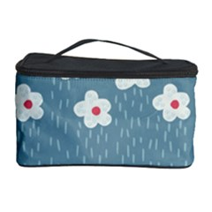 Cloudy Sky With Rain And Flowers Cosmetic Storage Case
