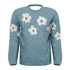 Cloudy Sky With Rain And Flowers Men s Long Sleeve Tee