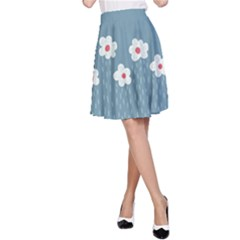 Cloudy Sky With Rain And Flowers A Line Skirt