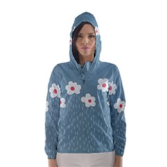 Cloudy Sky With Rain And Flowers Hooded Wind Breaker (Women)
