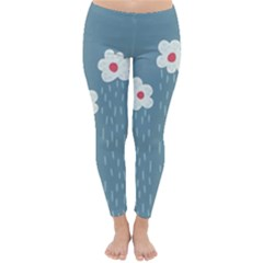 Cloudy Sky With Rain And Flowers Classic Winter Leggings