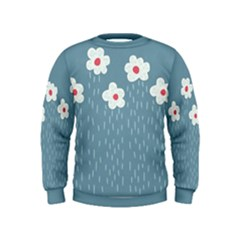 Cloudy Sky With Rain And Flowers Kids  Sweatshirt