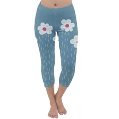 Cloudy Sky With Rain And Flowers Capri Winter Leggings