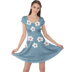 Cloudy Sky With Rain And Flowers Cap Sleeve Dresses