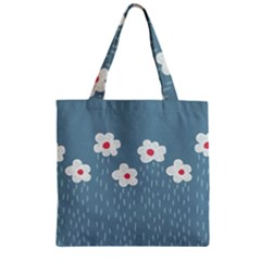 Cloudy Sky With Rain And Flowers Zipper Grocery Tote Bag
