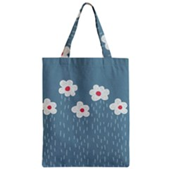 Cloudy Sky With Rain And Flowers Zipper Classic Tote Bag