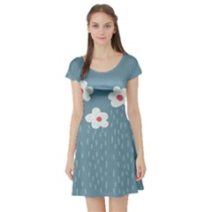 Cloudy Sky With Rain And Flowers Short Sleeve Skater Dress
