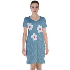 Cloudy Sky With Rain And Flowers Short Sleeve Nightdress