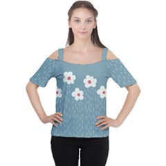 Cloudy Sky With Rain And Flowers Women s Cutout Shoulder Tee