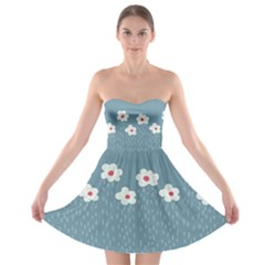 Cloudy Sky With Rain And Flowers Strapless Bra Top Dress
