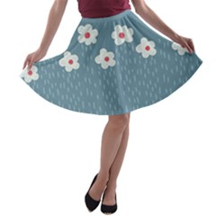 Cloudy Sky With Rain And Flowers A Line Skater Skirt