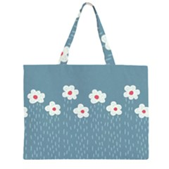 Cloudy Sky With Rain And Flowers Zipper Large Tote Bag
