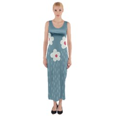 Cloudy Sky With Rain And Flowers Fitted Maxi Dress