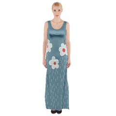 Cloudy Sky With Rain And Flowers Maxi Thigh Split Dress