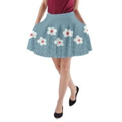 Cloudy Sky With Rain And Flowers A Line Pocket Skirt