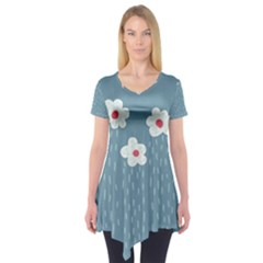 Cloudy Sky With Rain And Flowers Short Sleeve Tunic